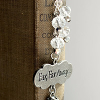 "Silver and Clear ""Far, Far Away"" Beaded Fairy Tale Bookmark - Handmade Dangling Bookmark - Ready to Ship"