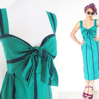 Vintage 60's pin up madmen bow ribbon stripe green black sweetheart neckline midi dress