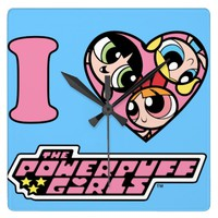 I Heart Powerpuff Girls Wall Clock