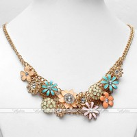 Korean Round Clear Rhinestone Crystal Beads Floral Collar Bib Chain Necklace