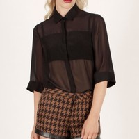 Brown & Black Leather Trim Houndstooth Shorts - from Lavish Alice UK