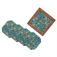 Sharon Turner Cloisonne Flowers Coaster Set