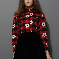 Floral Embroidery Tartan Shirt in Red