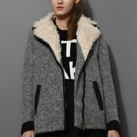Shearing Wool Tweed Coat in Grey