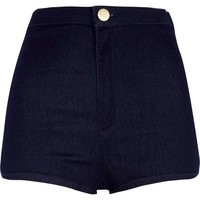 DARK WASH TUBE SHORTS
