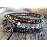 Leather wrap bracelet, Leather Cuff Bracelet, Beaded Cuff, Glam, Boho, Aqua Picasso