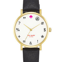 kate spade new york Watch, Women's Metro Black Boarskin Leather Strap 34mm 1YRU0266