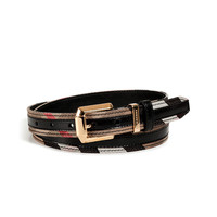 Burberry London - Leather/Cotton Check Thin Fann Belt in Black