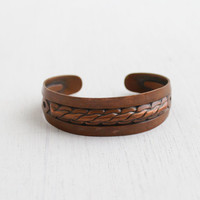 Vintage Copper Cuff Bracelet - 1960s Twisted Rope Costume Jewelry / 1970s Retro Accessory