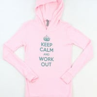 Keep Calm & Workout Pink Thermal Hoodie – Misses Small