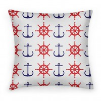 Anchor And Wheel Pattern Pillow