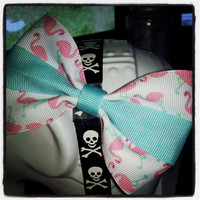 Flamingos Hon: Flamingo Ribbon Hair Bow with Mint Center Stripe