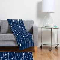 Heather Dutton Navy Entangled Fleece Throw Blanket