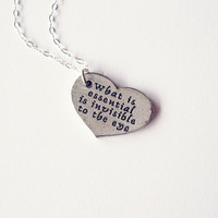 $42.00 Little Prince Quote Necklace  Heart Charm by dreamsbythesea