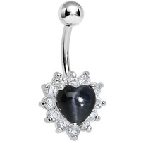 Stainless Steel Black Royal Heart Belly Ring | Body Candy Body Jewelry