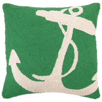 Anchor 18x18 Wool Pillow, Green