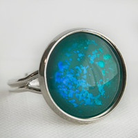Under the Sea Ring in Silver - Blue and Green Holographic Ring