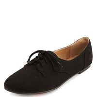 SUEDED LACE-UP OXFORD FLAT