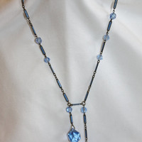 Blue Crystal Art Deco Enamel Sautoir Necklace Vintage Negligee Antique 1920s Jewelry