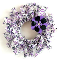 Small Purple and Black Fabric Rag Wreath with Handmade Flower Embellishment