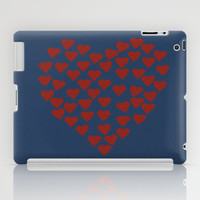 Hearts Heart Red on Navy iPad Case by Project M