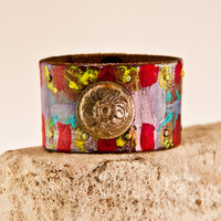 CYBER MONDAY Jewelry Bracelet Leather Cuff Women's Wristband - Christmas Gift Guide - For Her - Winter Retro Fashion - Cybermonday