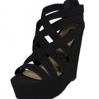 Berta! By Soda Strappy Platform Wedge with Back Zipper in Black Nubuck Leatherette