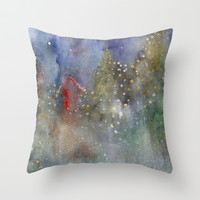 christmas lights Throw Pillow by rysunki-malunki