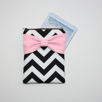 iPad Mini - Kindle - Nook - eReader Case - Black and White Chevron Medium Pink Bow - Padded
