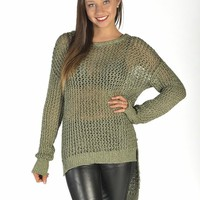 Khaki Glitter Knit Hi-Low Sweater