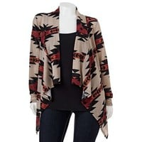 About A Girl Drape-Front Southwestern Cardigan - Juniors' Plus