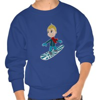 Snowboarding boy cartoon sweatshirt