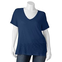 SO® Slubbed V-Neck Tee - Juniors' Plus