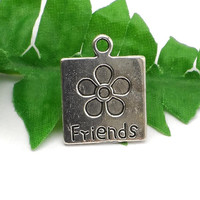 5 Silver Flower Friends Charm