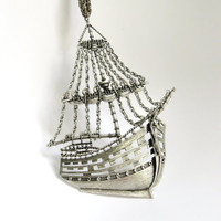 Vintage Pirate Ship Necklace, Clipper Ship Necklace, Nautical Ship Pendant, Silvertoned