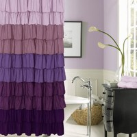 Dainty Home Flamenco Ruffled Shower Curtain, 70 by 72-Inch