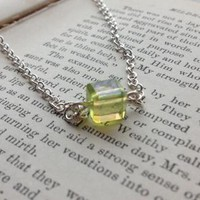 Lime Crystal Cube Solitaire Necklace