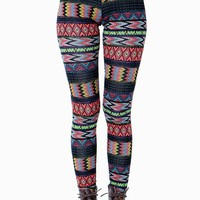 Coral Tribal Mix Legging