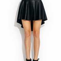 Hey-Slick-High-Low-Skirt BLACK RED - GoJane.com