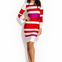 Stripe-Hype-Midi-Dress IVORYRED PINKNAVY - GoJane.com