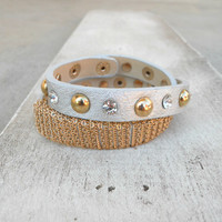 Silver and Stud Wrap Bracelet [4748] - $21.00 : Vintage Inspired Clothing & Affordable Dresses, deloom | Modern. Vintage. Crafted.