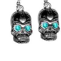 Black Sugar Skull with Teal Blue Rhinestone Eyes Earrings from Sourpuss Clothing