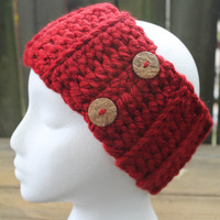 Crimson Red Chunky Ribbed Crochet Headband Earwarmer With Buttons, Ready To Ship
