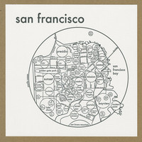 San Francisco Map - Letterpress - Four Colors - Bay Area - Simple - Clear