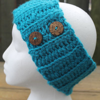 Teal Chunky Ribbed Crochet Headband Earwarmer With Buttons, Ready To Ship