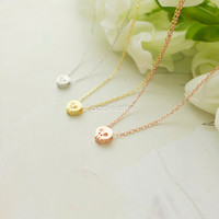 tiny skull necklace in gold, silver or rose gold