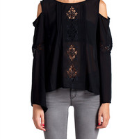 Lush Clothing - Cold Shoulder Bell Sleeve Top
