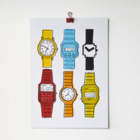 A4 Colourful Watches Print