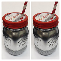 Mason Jar To Go Cup - Silver Glitter Mason Jar To Go Cup, teacher gift, co-worker gift, friend gift, stocking stuffer, Christmas gift