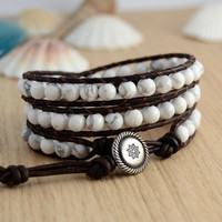 Triple wrap howlite bracelet. Rustic bohemian white and brown bracelet